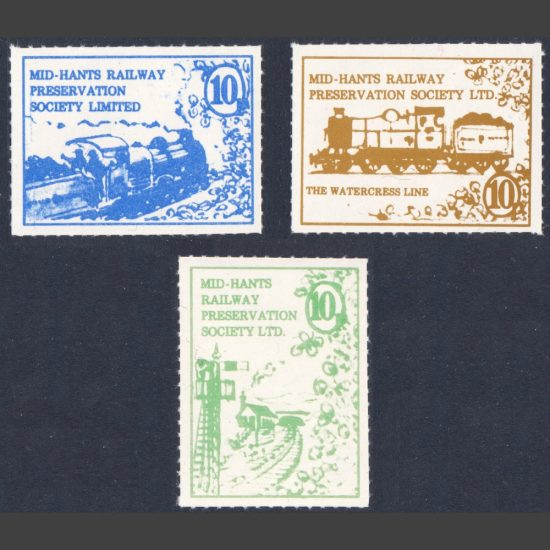 Mid-Hants Railway Preservation Society Limited 1977 Labels Part Set (3x 10p, U/M)