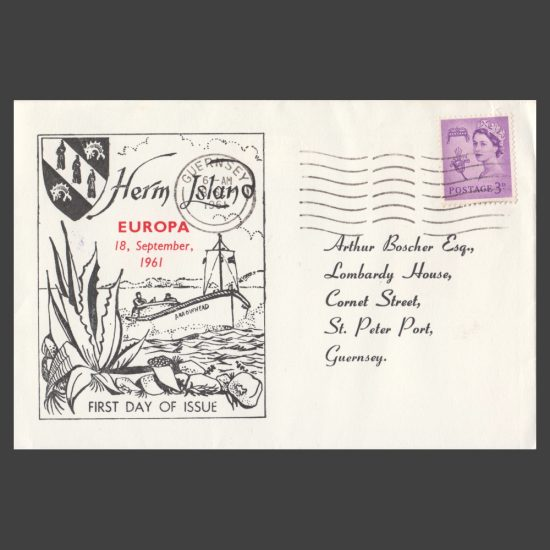 Herm Island 1962 Europa Set on First Day Cover (FDC) - front