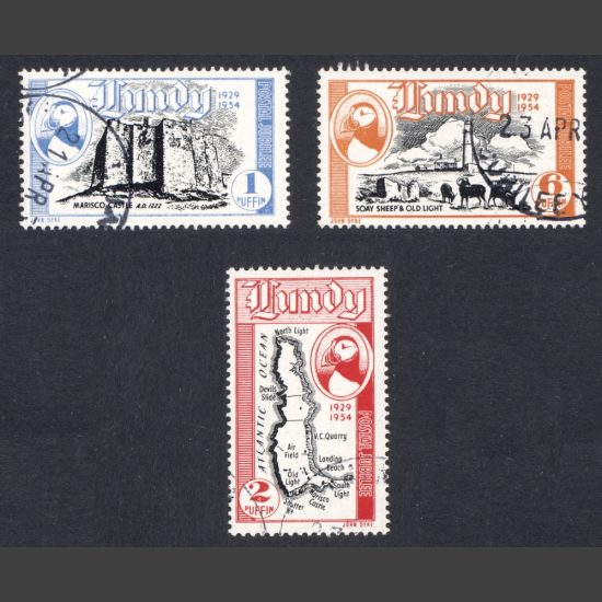 Lundy 1954 Silver Jubilee – 25 Years of Lundy Post – Seamail Issue Part Set (3v, 1p to 6p, CTO)
