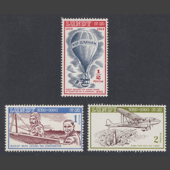 Lundy 1954 Silver Jubilee - 25 Years of Lundy Post - Airmail Issue Part Set (3v, ½p to 2p, U/M)