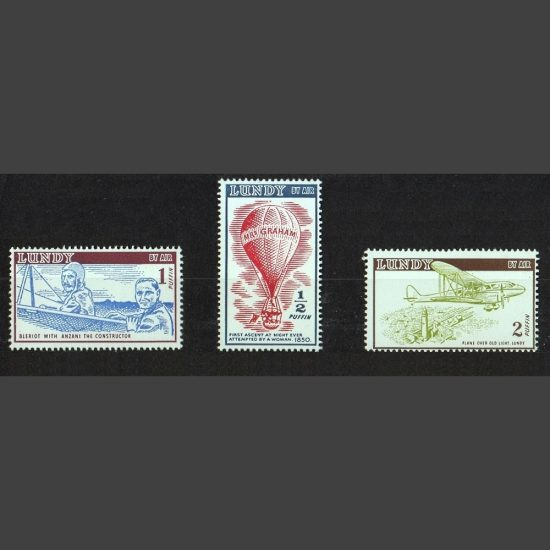 Lundy 1954 Airmail Definitives Part Set (3v, ½p to 2p, U/M)