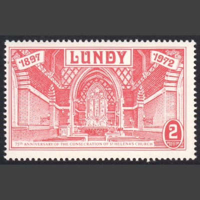 Lundy 1972 St Helena's Church - 2p Value Only (U/M)