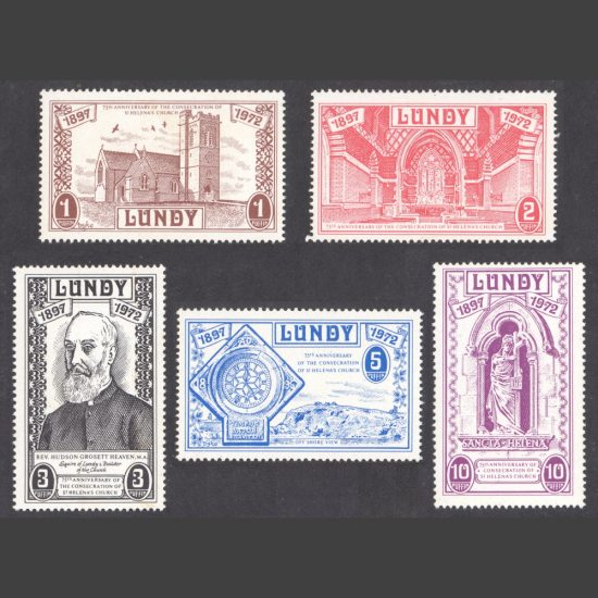 Lundy 1972 75th Anniversary of the Consecration of St Helena's Church (5v, 1p to 10p, U/M)
