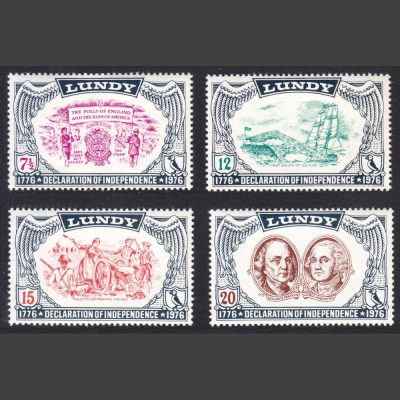 Lundy 1976 US Bicentennial Part Set (4v, 7½p to 20p, U/M)