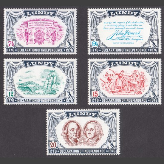 Lundy 1976 US Bicentennial of Declaration of Independence (5v, 7½p to 20p, U/M)