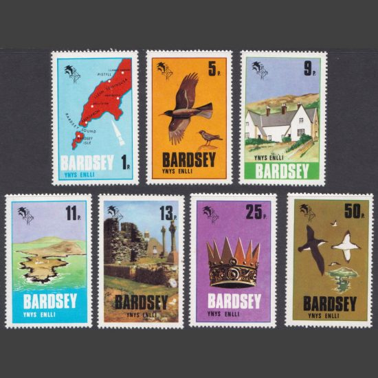 Bardsey 1979 Definitives Part Set (7v, 1p to 50p, U/M)