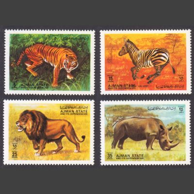 Ajman State 1972 Wild Animals Unofficial Issue Part Set (4v, 5d to 35d, U/M)