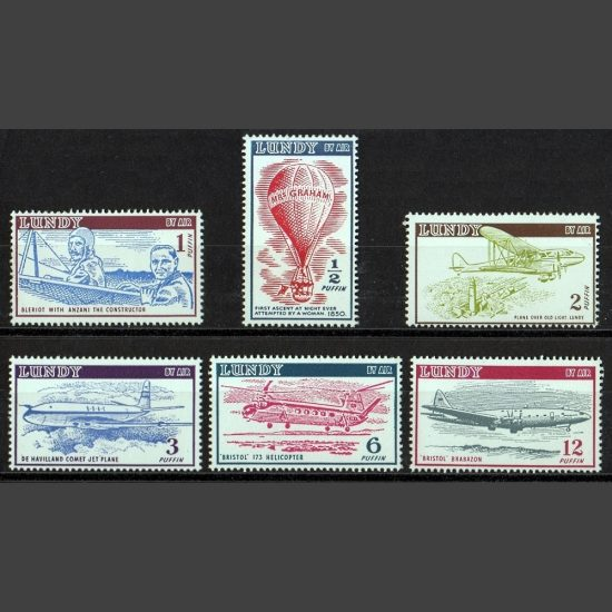 Lundy 1954 Airmail Definitives Set (6v, ½p to 12p, U/M)