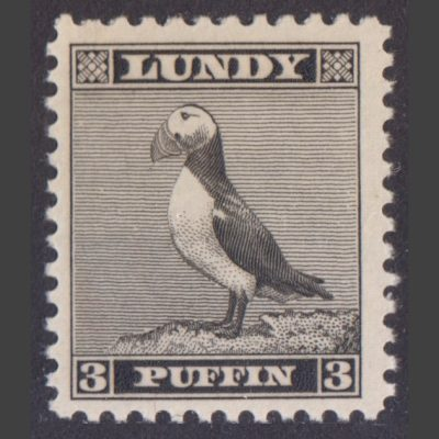 Lundy 1939 3p Standing Puffin Definitive (U/M)