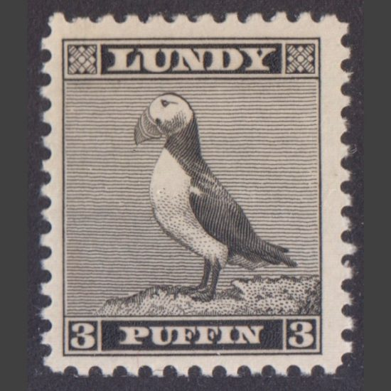 Lundy 1939 3p Standing Puffin Definitive (U/M)