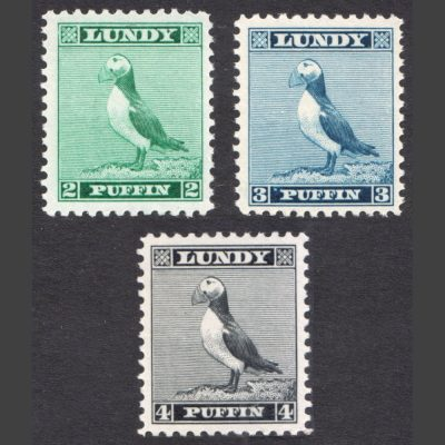 Lundy 1957 Standing Puffin Engraved Definitives Part Set (3v, 2p to 4p, U/M)