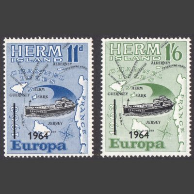 Herm Island 1964 Europa Overprints Part Set (2v, 11d and 1s6d, U/M)