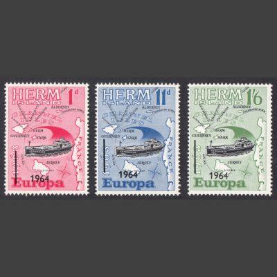 Herm Island1964 Europa Overprints (3v, 1d to 1s6d, U/M)