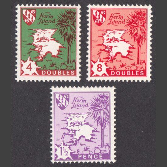 Herm 1968 Map & Boat Definitive Reissue Part Set (3v, 4db to 1½d, U/M)