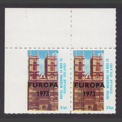 Davaar Island 1973 Europa Overprints on Royal Wedding (2v, 3½p and 25p, U/M)