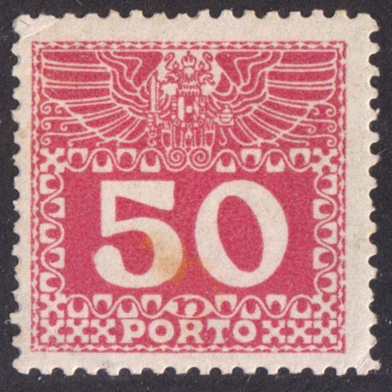 """Austria 1908 50h Red Postage Due (""""Porto"""") Stamp (SG D219C, M/M)"""
