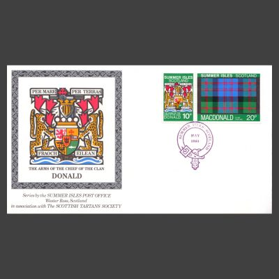 Summer Isles 1981 Clan Tartan Commemorative Cover with 10p and 20p MacDonald Stamps
