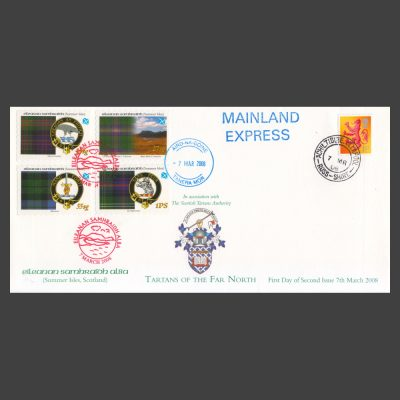 Summer Isles 2008 Tartans of the Far North First Day Cover with Full Set (4v, 15sg to 1PS) and GB Definitive
