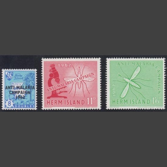Herm Island1962 Anti Malaria Campaign (3v, 8db to 1s6d, U/M)