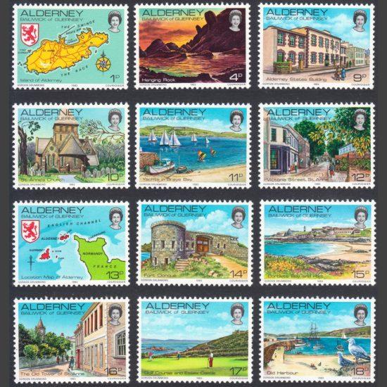 Alderney 1983 Island Scenes Definitives (12v, 1p to 18p, U/M)