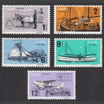 Lundy 1969 40th Anniversary of Lundy Post (5v, 1p to 12p, U/M)