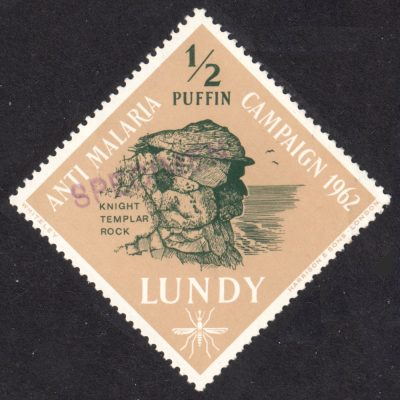 "Lundy 1962 Anti Malaria ½p Value with Handstamped ""Specimen"" Overprint - Unofficial (U/M)"