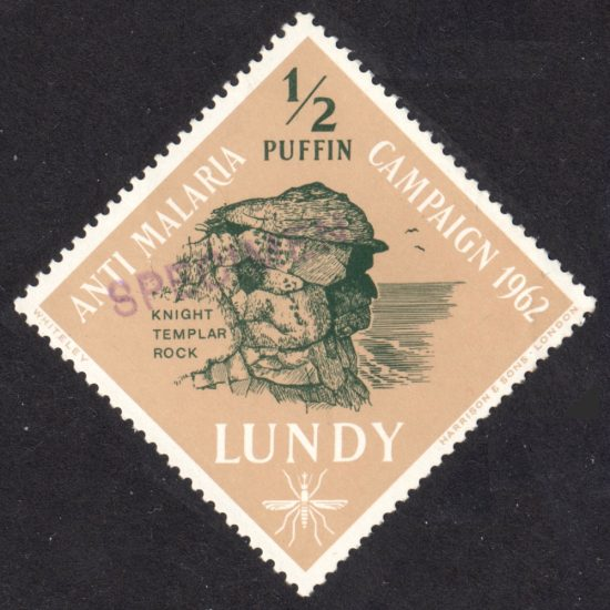 """Lundy 1962 Anti Malaria ½p Value with Handstamped """"Specimen"""" Overprint - Unofficial (U/M)"""