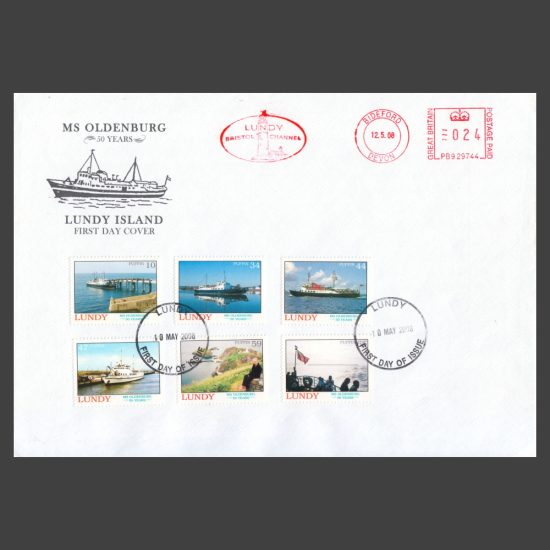 Lundy 2008 50th Anniversary of the Launching of MS Oldenburg Set on First Day Cover (FDC)