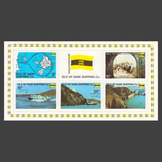 Isle of Sark Shipping Company 1980 Carriage Labels in Miniature Sheet (5v, 5p to 50p, U/M)