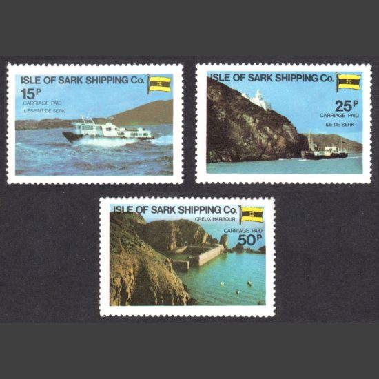 Isle of Sark Shipping Company 1980 Carriage Labels Part Set (3v, 15p to 50p, U/M)