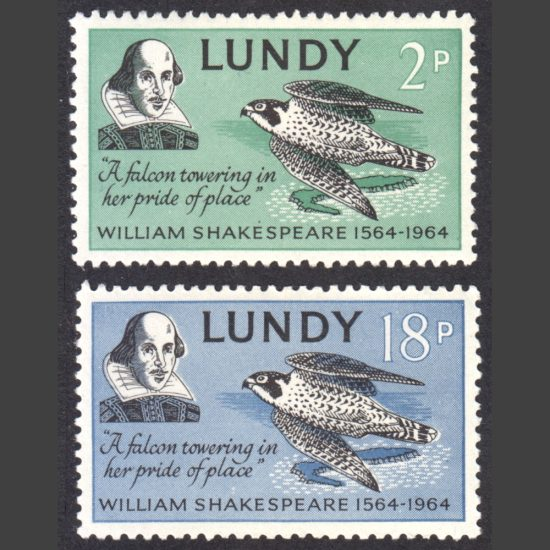 Lundy 1964 400th Anniversary of William Shakespeare's Birth Part Set (2v, 2p and 18p, U/M)