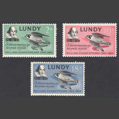 Lundy 1964 400th Anniversary of William Shakespeare's Birth (3v, 2p to 18p, U/M)
