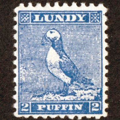 Lundy 1942 Perforate Forgery of 2p Puffins Cut-Out from 'Tighearna' Miniature Sheet (U/M)