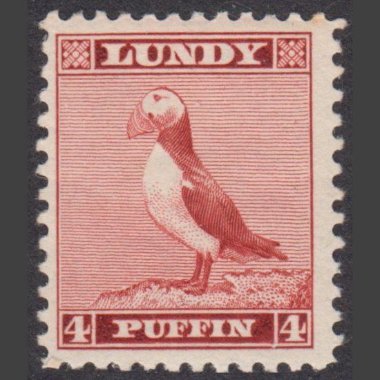Lundy 1939 4p Standing Puffin Definitive (U/M)