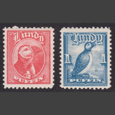 Lundy 1929 First Puffin Definitives (2v, ½p and 1p, U/M)