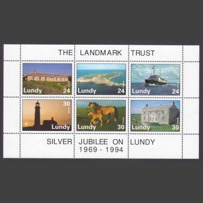Lundy 1994 Landmark Trust Silver Jubilee Souvenir Sheet (6v, 25p to 30p, U/M)