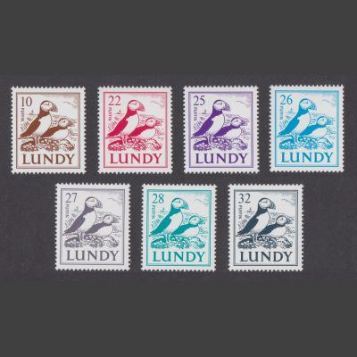 Lundy 1991 'Puffins on Coast' Definitives Part Set (7v, 10p to 32p, U/M)