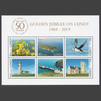 Lundy 2019 Golden Jubilee of the Landmark Trust and National Trust on Lundy Miniature Sheet (6v, 60p to 80p, U/M)