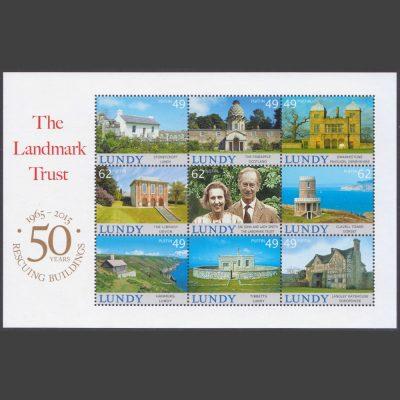 Lundy 2015 Landmark Trust 50 Years Miniature Sheet (9v, 49p to 62p, U/M)
