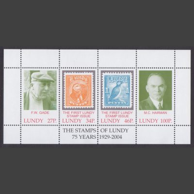 Lundy 2004 75th Anniversary of the First Lundy Stamps Miniature Sheet (4v, 27p to 100p, U/M)