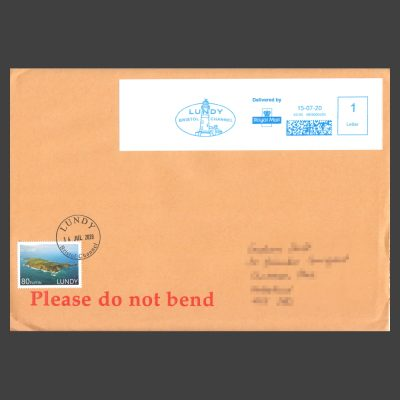 Lundy 2019 80p Golden Jubilee Stamp Postally Used on Cover (in 2020)