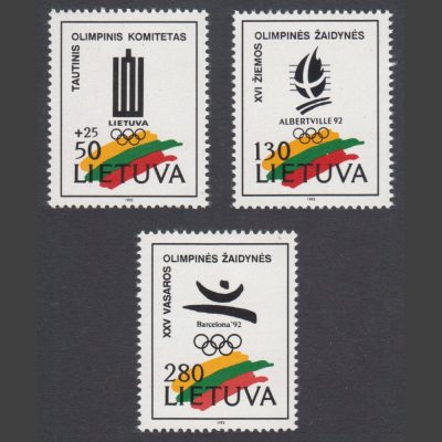 Lithuania 1992 Winter Olympic Games, Albertville, and Summer Games, Barcelona (SG 501-3)