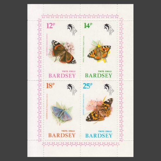 Bardsey 1981 Butterflies Set in Sheetlet (4v, 12p to 25p, U/M)