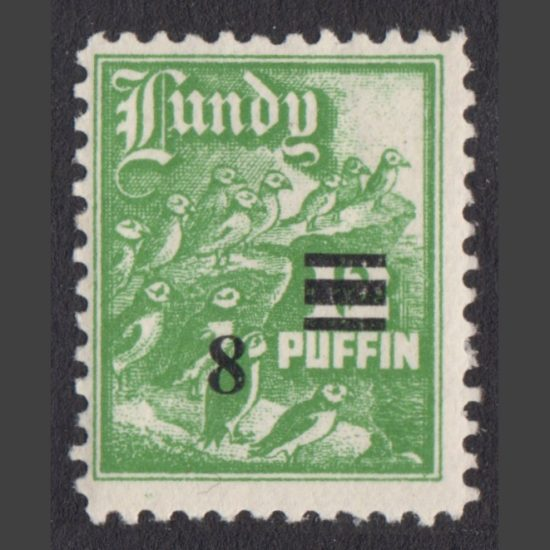 Lundy 1951 8 on 12 Puffins Provisional Surcharge (U/M)