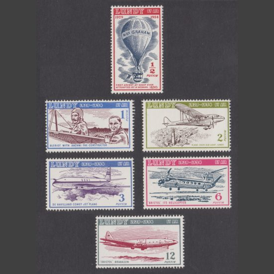 Lundy 1954 Silver Jubilee - 25 Years of Lundy Post - Airmail Issue (6v, ½p to 12p, U/M)