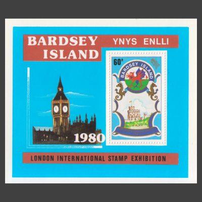Bardsey 1980 London 1980 Stamp Exhibition Miniature Sheet (60p, U/M)