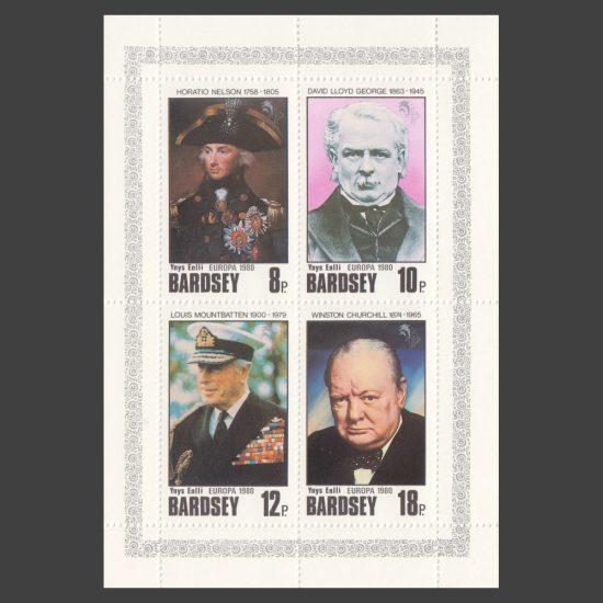 Bardsey 1980 Europa - Famous People Set in Sheetlet (4v, 8p to 18p, U/M)