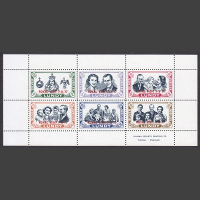 Lundy 1977 Royal Visit Overprinted Souvenir Sheet (6v, 2p to 50p, U/M)