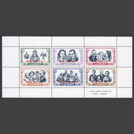 Lundy 1977 Royal Visit Overprinted Souvenir Sheet (6v, 2p to 50p, U/M)