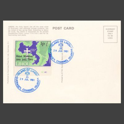 Lihou 1981 1p Royal Wedding Overprint Stamp on Postcard